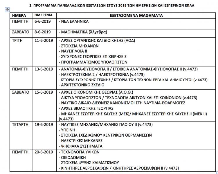 Το Πρόγραμμα των Πανελλαδικών Εξετάσεων ΓΕΛ και ΕΠΑΛ 2019